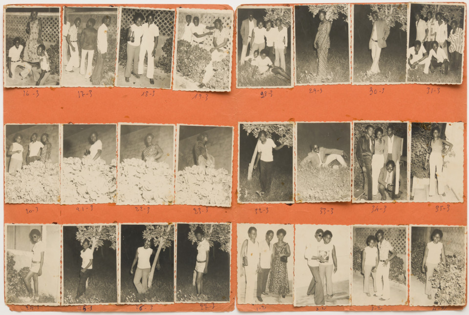 Image: Malick Sidibé  Nuit du 8-7-72, 1972  numerical notations under each print; signed, initialed, titled and dated verso  collection of 24 vintage gelatin silver prints mounted on paper  12-1/2 x 19 inches