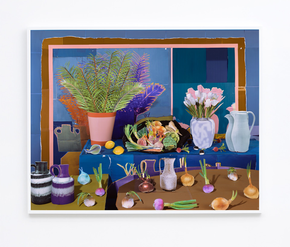Image: Daniel Gordon  Still Life with Vegetables and Tulips, 2017  signed and numbered verso  archival pigment print  59-1/4 x 75 inches  edition of 3 plus 1 artist's proof