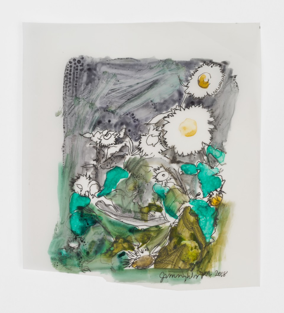 Image: Jimmy Wright  Sunflower No. 5, 2018  signed and dated recto  ink on Yupo Paper  8 3/4 x 7 3/4 inches (22.2 x 19.7 cm)