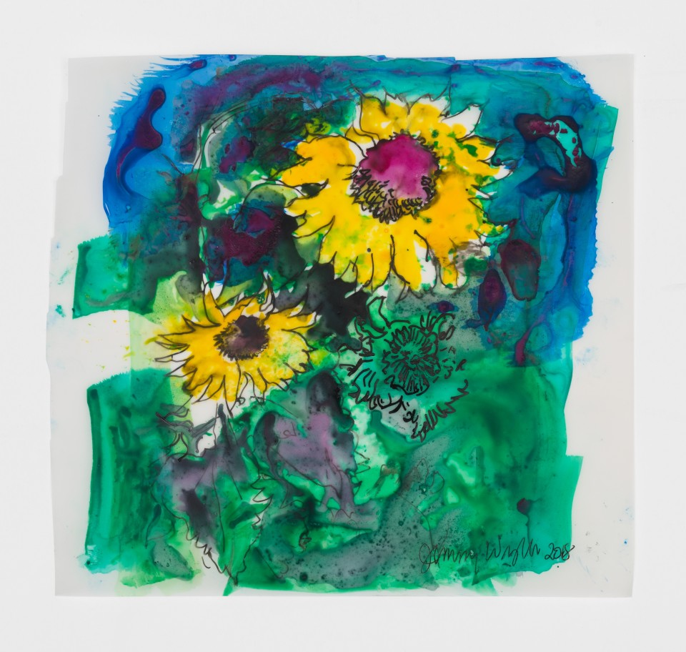 Image: Jimmy Wright  Sunflower No. 6, 2018  signed and dated recto  ink on Yupo Paper  8 x 8 1/4 inches (20.3 x 21 cm)