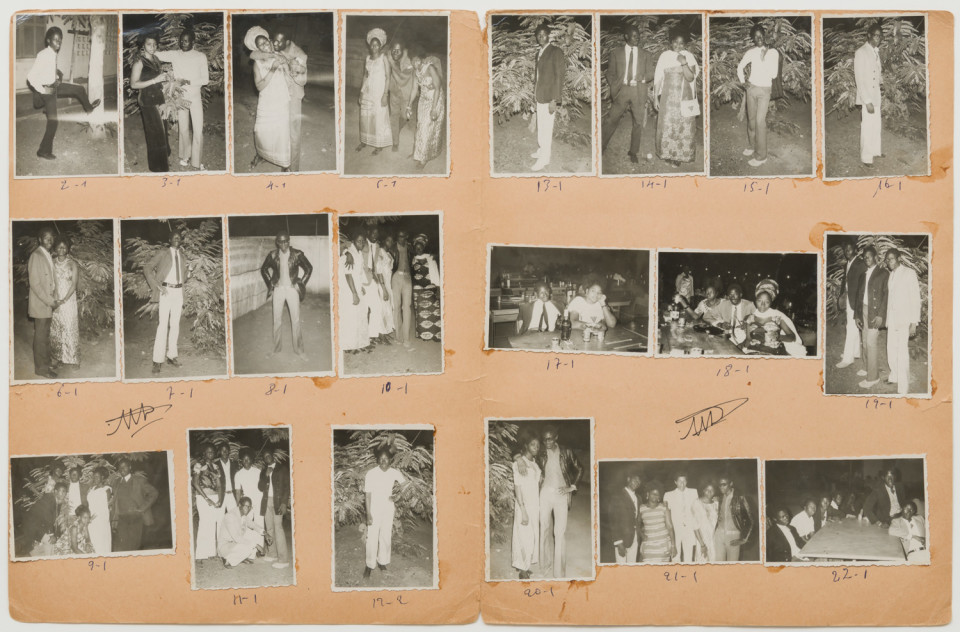 Image: Malick Sidibé  Bal G.S.S. 22-12-71, 1971  numerical notations under each print and initialed recto  collection of 21 vintage gelatin silver prints mounted on paper  12-3/4 x 19-1/2 inches