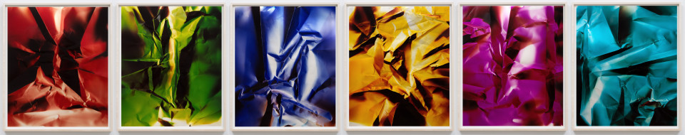 Image: Ellen Carey  Dings & Shadows RGBYMC (polyptych), 2012  signed, dated and titled verso  six unique chromogenic prints on matte paper  24 x 20 inches (each)  (ECa.03.1205.24)