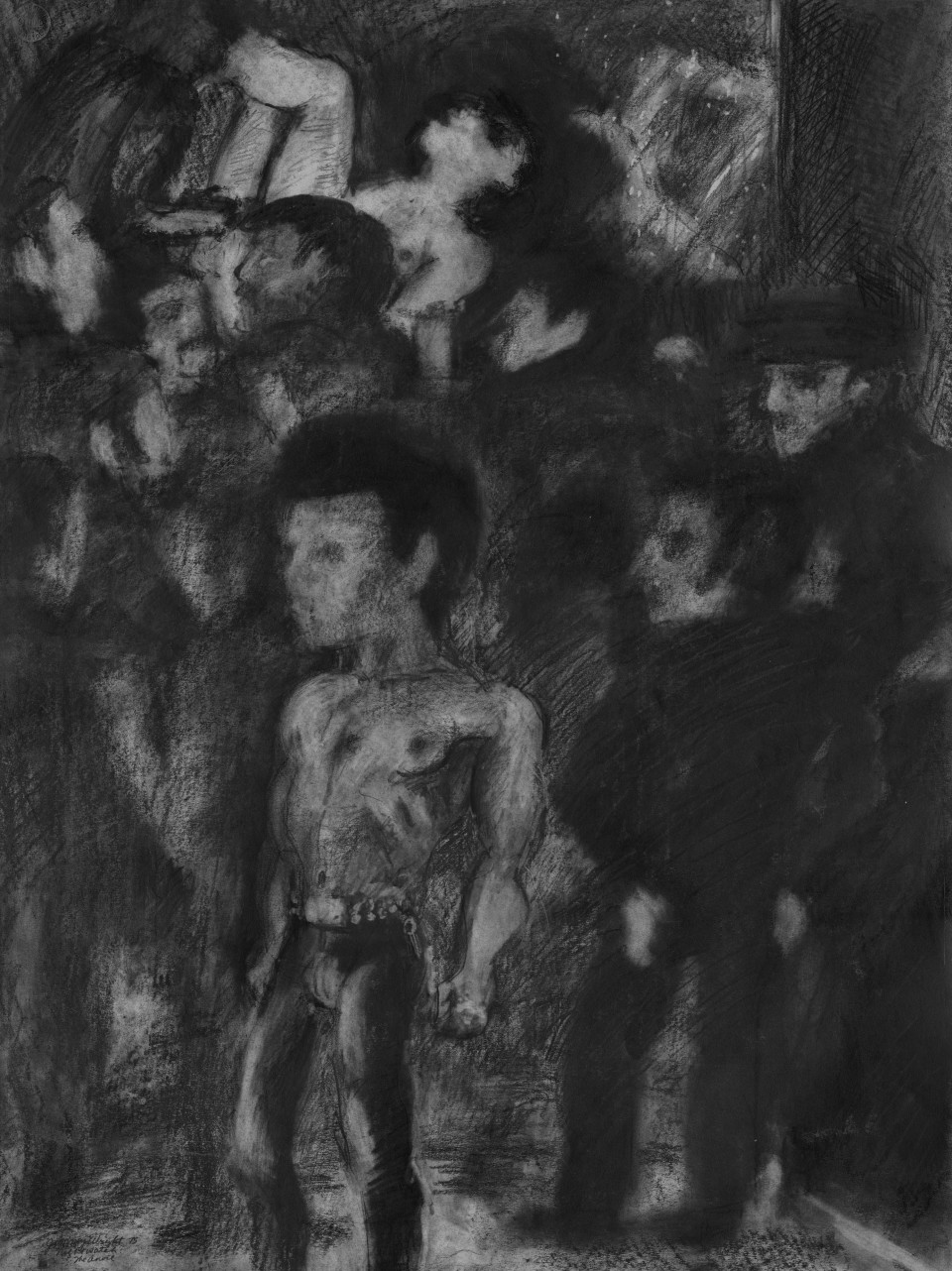 Image: Jimmy Wright  Nightwatch: The Anvil, 1975  graphite on paper  30 x 22 inches (76.2 x 55.9 cm)