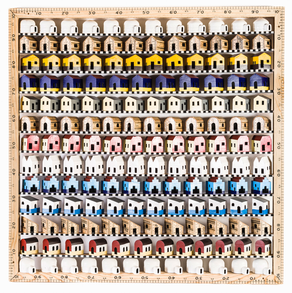 Image: Pedro Friedeberg  Infonavit de la cucarachas, 2000  signed and dated  wood and polychrome assemblage  39 3/8 x 39 3/8 x 2 inches (100 x 100 x 5 cm)