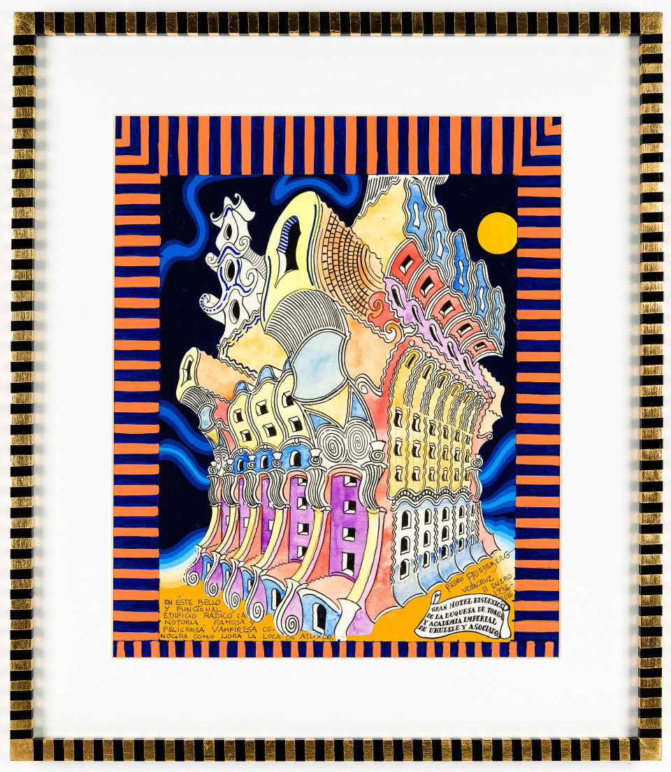 Image: Pedro Friedeberg  Gran Hotel dyslexic de la Duquesa de Tonga, 2016  signed and dated  acrylic, ink and watercolor on paper in artist's frame  17 7/8 x 15 1/2 inches (45.5 x 39.5 cm)