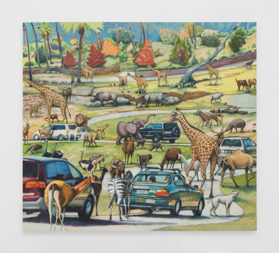 Image: Rob Thom  Drive-Thru Zoo, 2019  oil and wax on canvas  49 x 55 inches (124.5 x 139.7 cm)