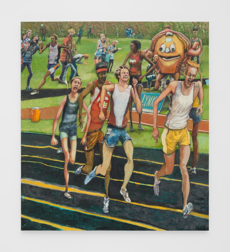 Image: Rob Thom  Untitled (Runners), 2019  oil and wax on canvas  51 x 46 inches (129.5 x 116.8 cm)
