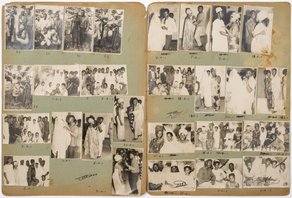 Image: Malick Sidibé  Tiep Mariage Jouisseur Diallo 6-8-61, 1961  numerical notations under each print and initialed recto; titled and dated verso  collection of 27 vintage gelatin silver prints mounted on paper  13-1/2 x 20-1/2 inches