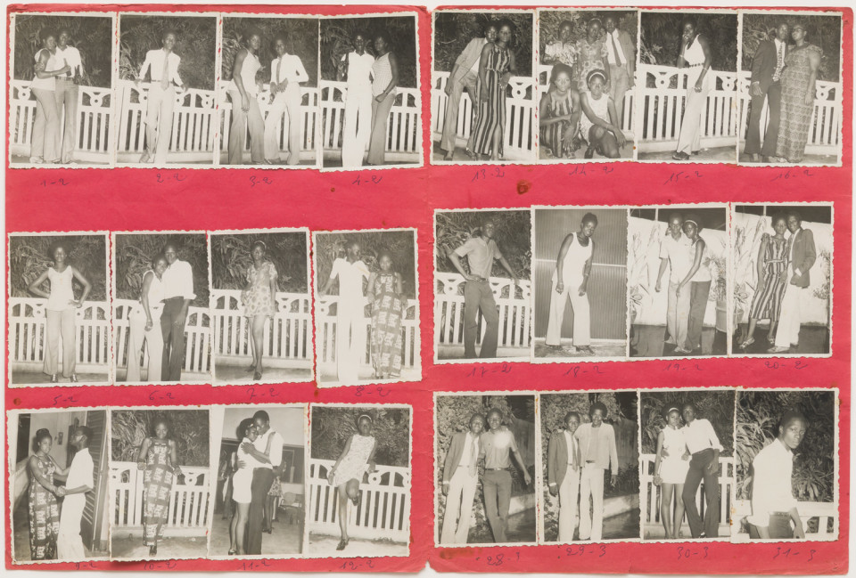Image: Malick Sidibé  Baptême Tiékoro Bayoko le 28/8/71, 1971  numerical notations under each print; titled, dated, signed and initialed verso  collection of 23 vintage gelatin silver prints mounted on paper  12-1/2 x 19 inches