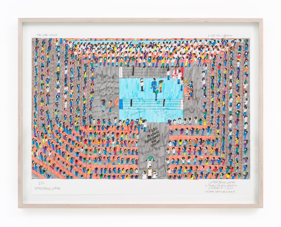 Image: Dapper Bruce Lafitte  T.D.B.C. Presents Here Comes the Champ, 2015  archival ink on acid free paper  paper size: 19 3/4 x 24 5/8 inches frame size: 21 1/16 x 27 1/8 inches