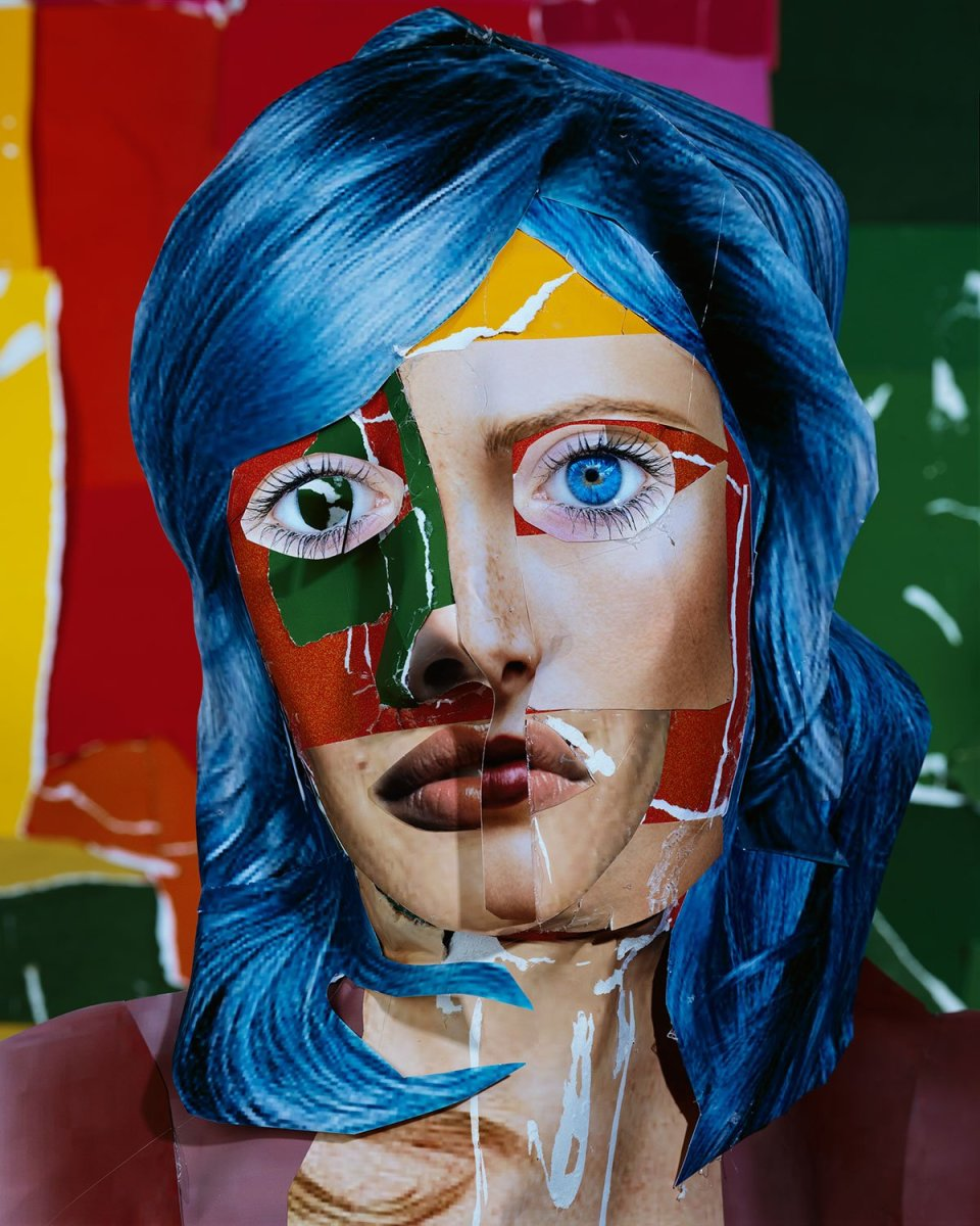 Image: Daniel Gordon  Portrait with Blue Hair, 2013  signed and numbered verso  chromogenic print  45 x 36 inches  edition of 3 plus 1 artist's proof
