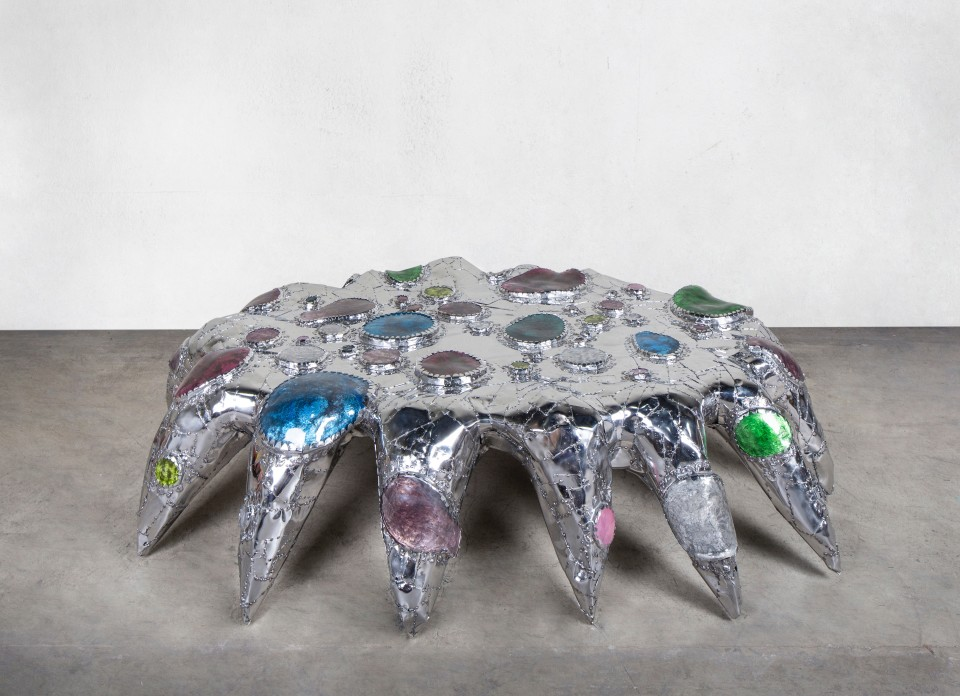 Image: Misha Kahn  Back Bend Starfish Puts on all Her Jewels for Her Workout, 2018  stainless steel, glass  21 x 90 x 63 inches (53.3 x 228.6 x 160 cm)