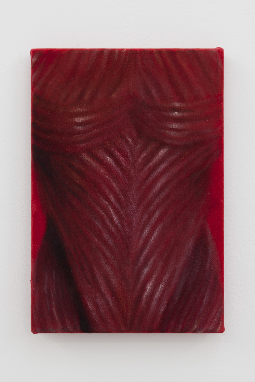 Issy Wood Fretting, Dracula, 2018 Oil on velvet 29.5 x 20 x 1.5 cm 11 5/8 x 7 7/8 x 5/8 in