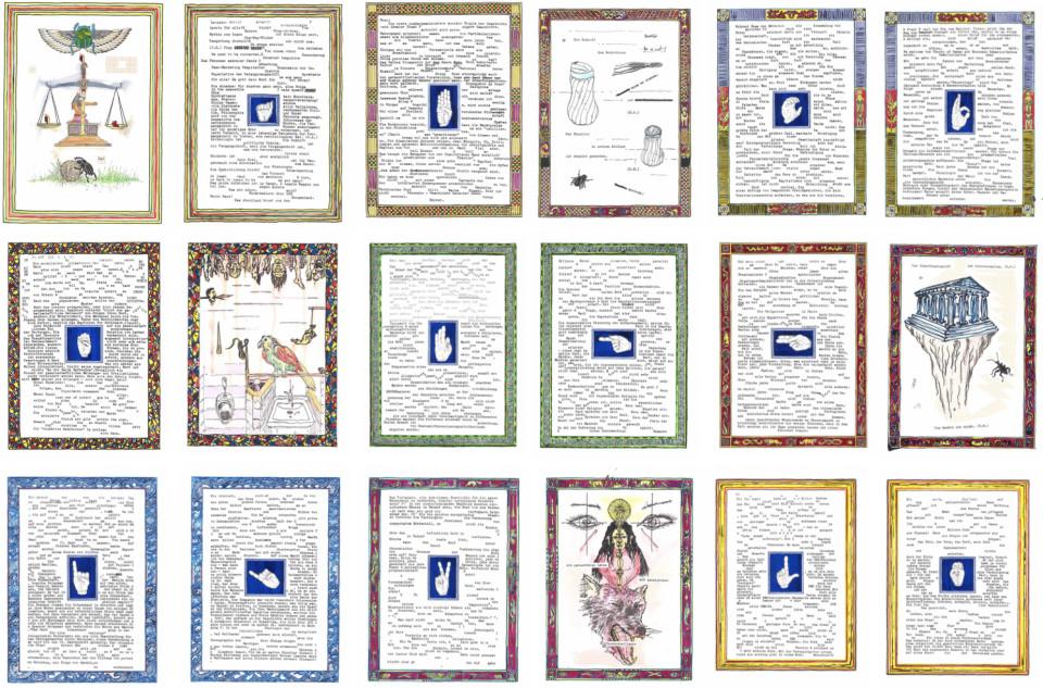 Markus Redl  Apostasie - Das Abendland kommt aus dem Morgenland (2), 2015-2016  Ink, typewriter, crayon, paper, 36 pieces  each 23 x 31 cm each 9 1/8 x 12 1/4 in