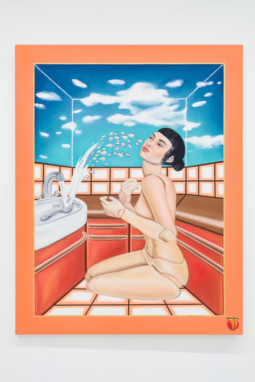 Katerina Zbortkova Spoon Shower, 2019 Oil on canvas 150.5 x 118 cm 59 1/4 x 46 1/2 in