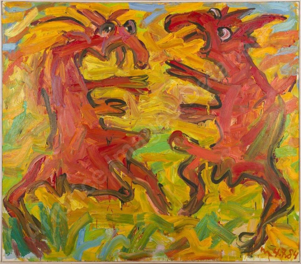 Otto Muehl Zwei Ziegen, 1984 Oli on canvas 140 x 160 cm 55 1/8 x 63 in