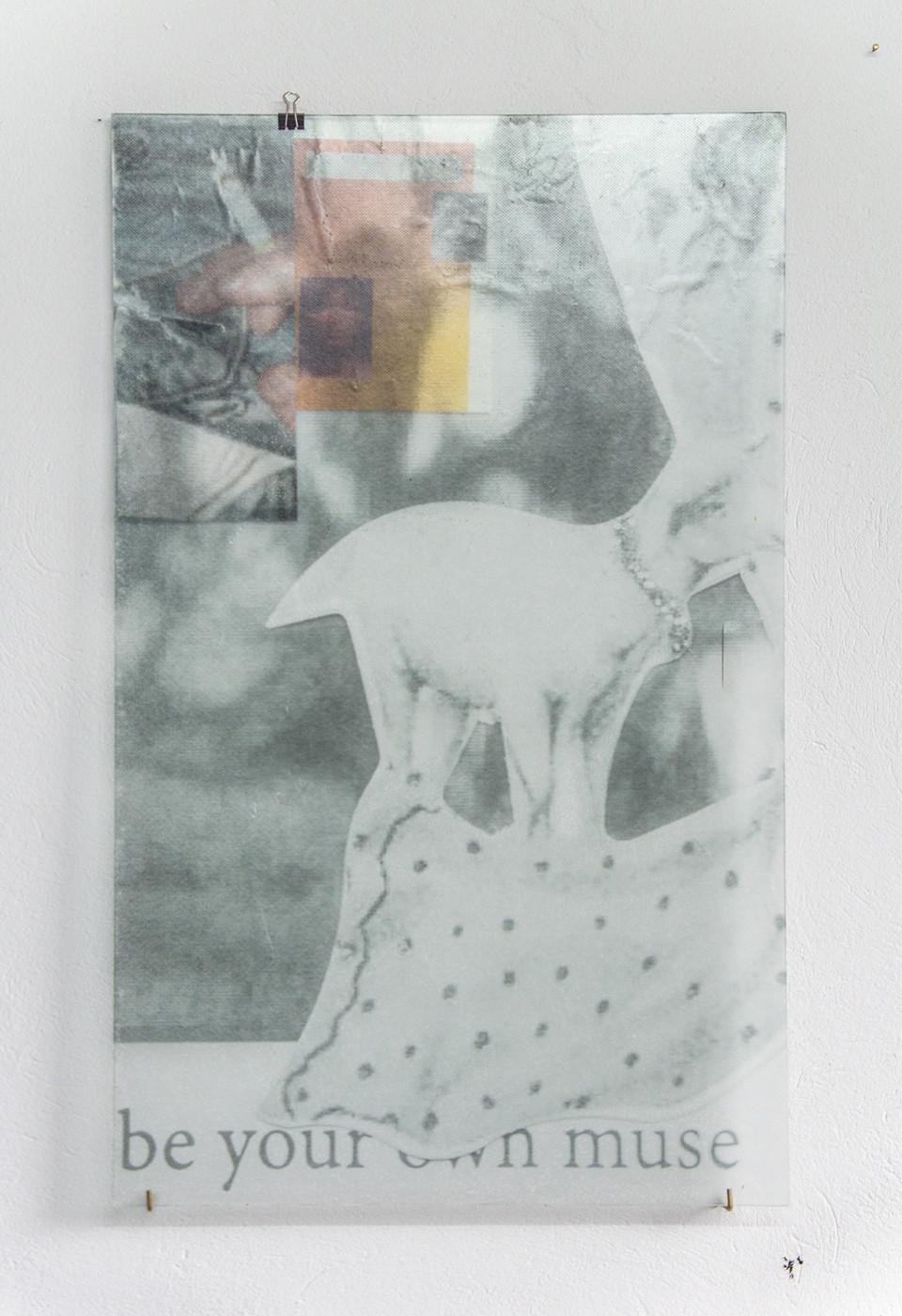 Nana Mandl my very own muse II, 2019 mixed media on glass 80 x 50 cm 31 1/2 x 19 3/4 in