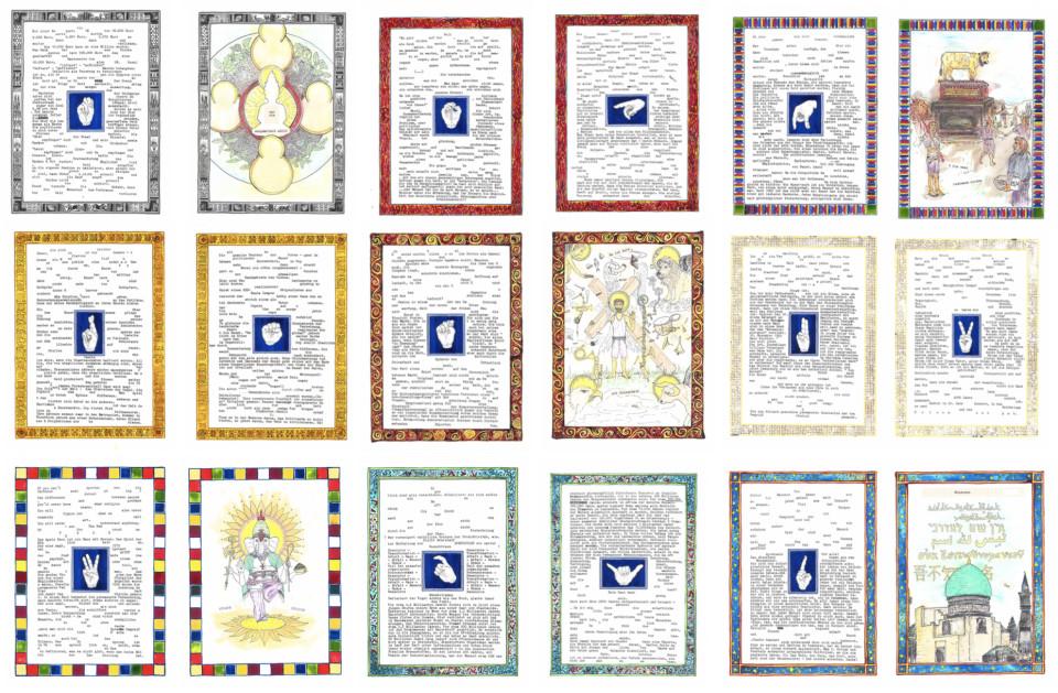 Markus Redl  Apostasie - Das Abendland kommt aus dem Morgenland (1), 2015-2016  Ink, typewriter, crayon, paper, 36 pieces  each 23 x 31 cm each 9 1/8 x 12 1/4 in