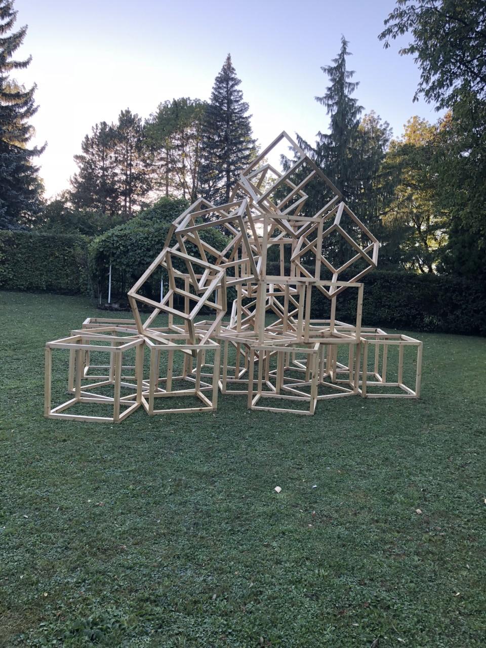 Nóemie Goudal  Blocs, 2017-18  Twenty-five wooden cubes  each cube 90 x 90 x 90 cm