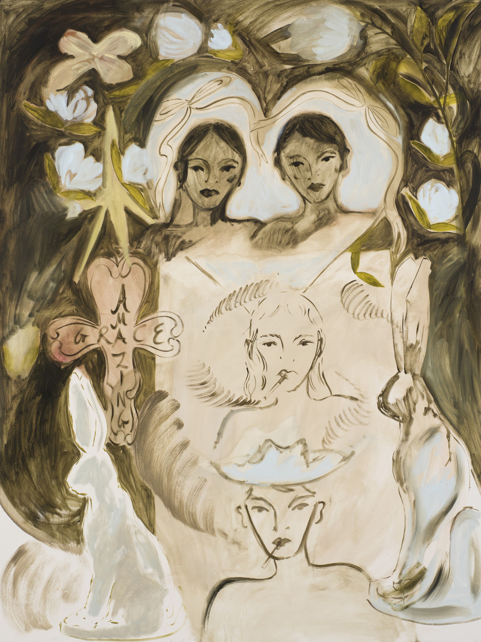 Faye Wei Wei I Once Fell in Love with a Boy From Paris // Who Worked in a Funeral Parlour // Selling Sad Flowers, 2019 Oil on Canvas 183 x 137 cm 720 1/2 x 539 3/8 in