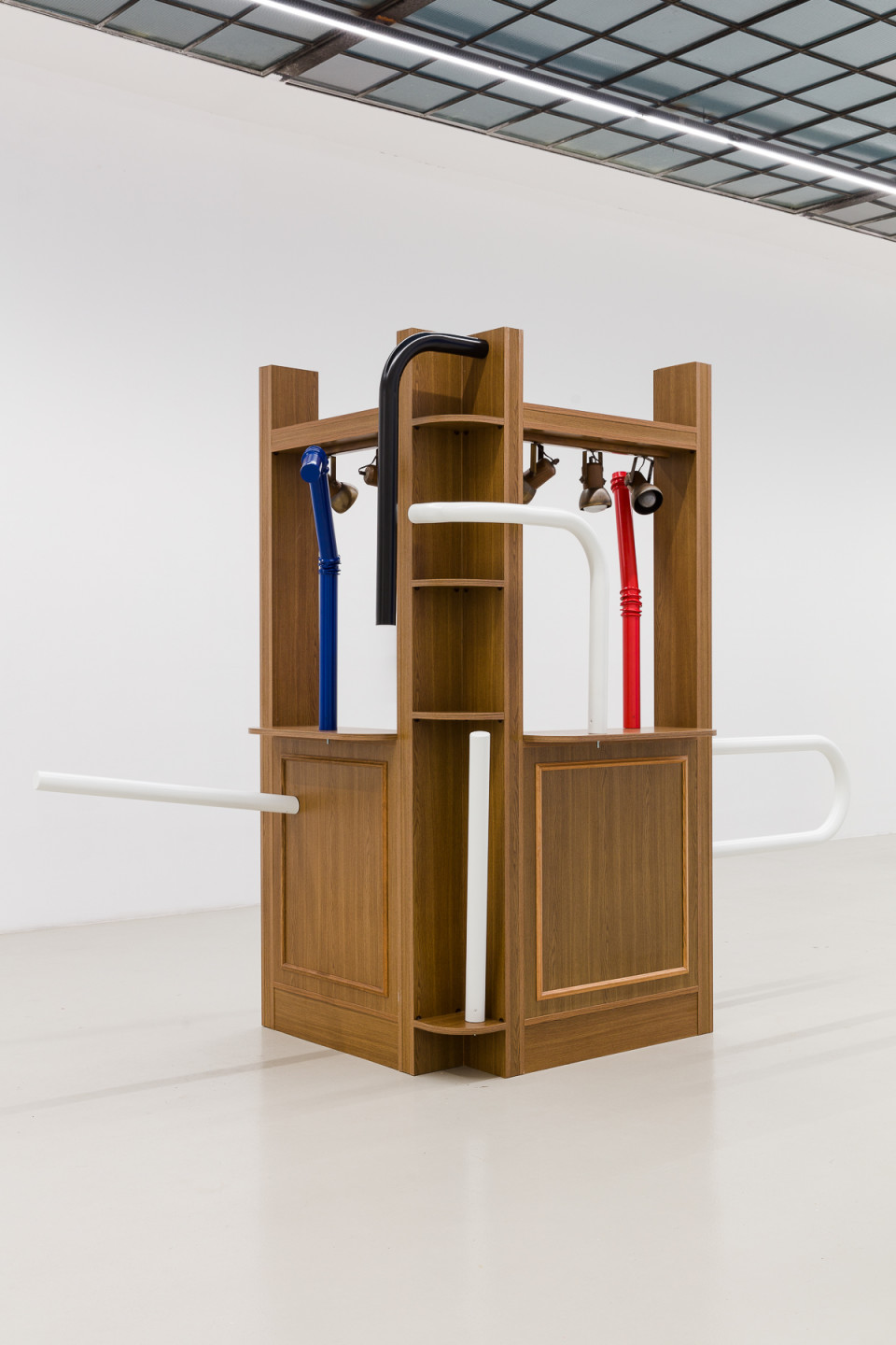 George Henry Longly Express Delivery, 2019 wooden bar, bollards (Bollards Provenance: Palais de Tokyo) 230 x 280 x 120 cm 90 1/2 x 110 1/4 x 47 1/4 in