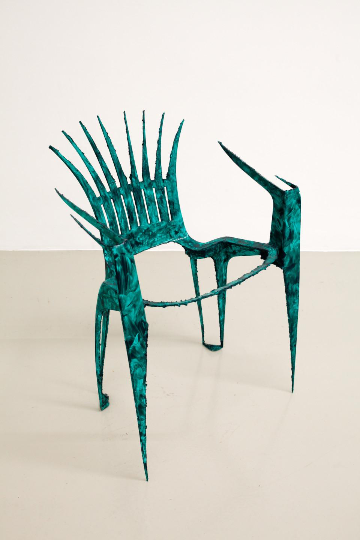 Lindsay Lawson  Pero Peric, 2018  Garden chair, acrylic  74 x 54 x 47 cm 29 1/8 x 21 1/4 x 18 1/2 in