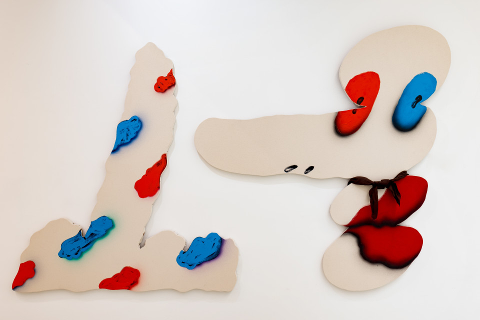 """James English Leary  Installation View, """"Spotted Finger"""" and """"Facehand"""", 2016  Acrylic and rayon on shaped canvas"""