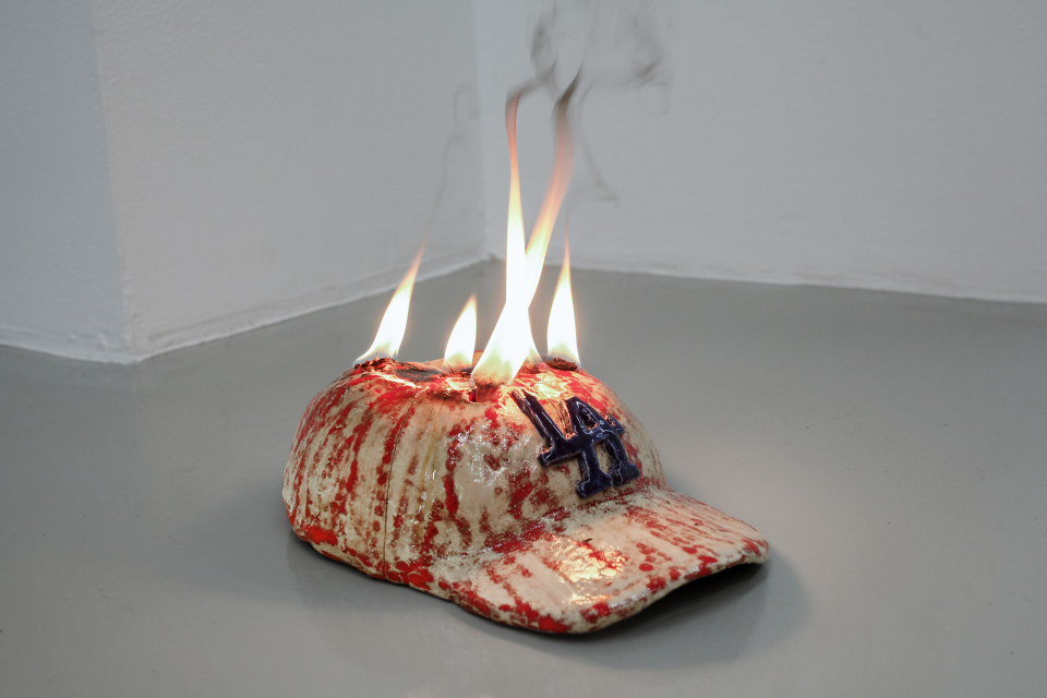 Lindsay Lawson  Cap, 2018  ceramics with fire  7 x 17 x 23 cm 2 3/4 x 6 3/4 x 9 1/8 in