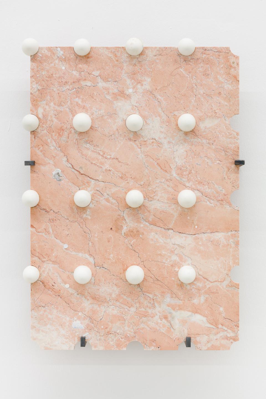 George Henry Longly The Iconoclast, 2012 waterjet cut marble, duck eggs, jesmonite, plaster, steel fixings 80 x 55 x 2 cm 31 1/2 x 21 5/8 x 3/4 in