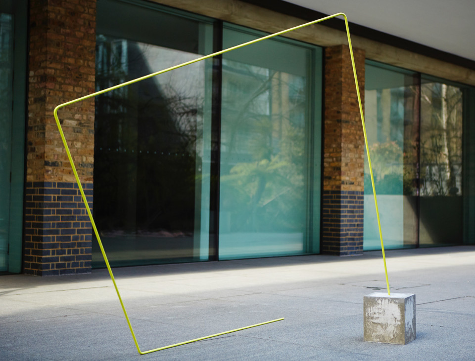 Rana Begum No. 626 L Drawing, 2015 Powder coated stainless steel on concrete Cube: 40 x 40 x 40 cm 12 mm stainless steel - yellow