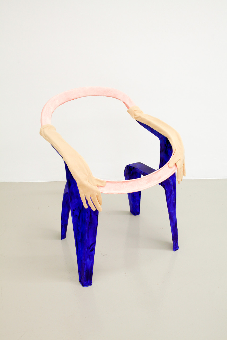 Lindsay Lawson  Jean Dupont, 2018  Garden chair, acrylic, gloves  81 x 57 x 60 cm 31 7/8 x 22 1/2 x 23 5/8 in