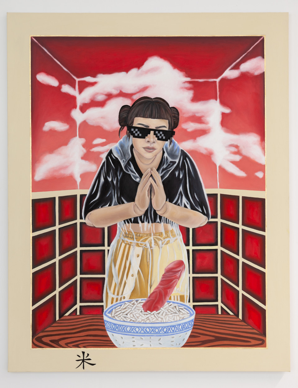Katerina Zbortkova Dildo in Rice, 2019 Oil on canvas 150.5 x 118 cm 59 1/4 x 46 1/2 in