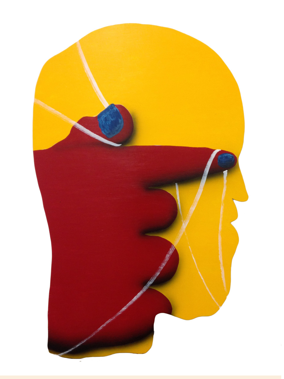 James English Leary Cameo (Red Hand w/ Thread on Yellow Head), 2018 Acrylic on Shaped Panel 76.2 x 119.4 cm 30 x 47 in