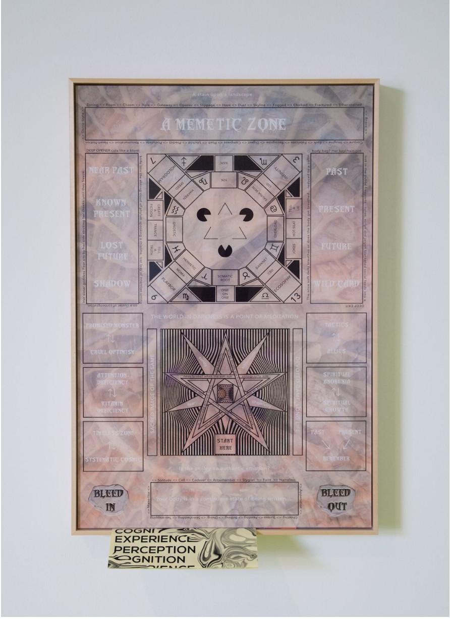 OMSK Social Club The Memetic Zone, 2019 Acrylic Glass, Birch Wood, Paper, Quartz, Three Card Decks, Display 92.5 x 62.5 cm 36 3/8 x 24 5/8 in