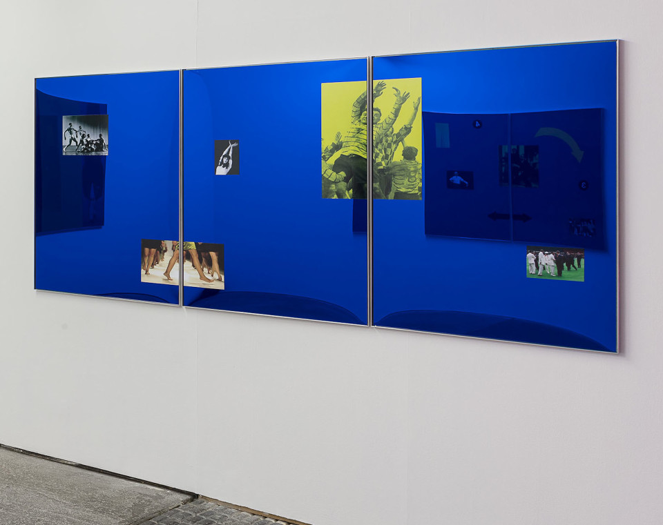 Simeon Barclay With the Thrust of Their Frames They Cut New Forms, 2016 Aluminium, blue acrylic mirror, vinyl adhesive 119 x 270 x 2 cm 46 7/8 x 106 1/4 x 3/4 in