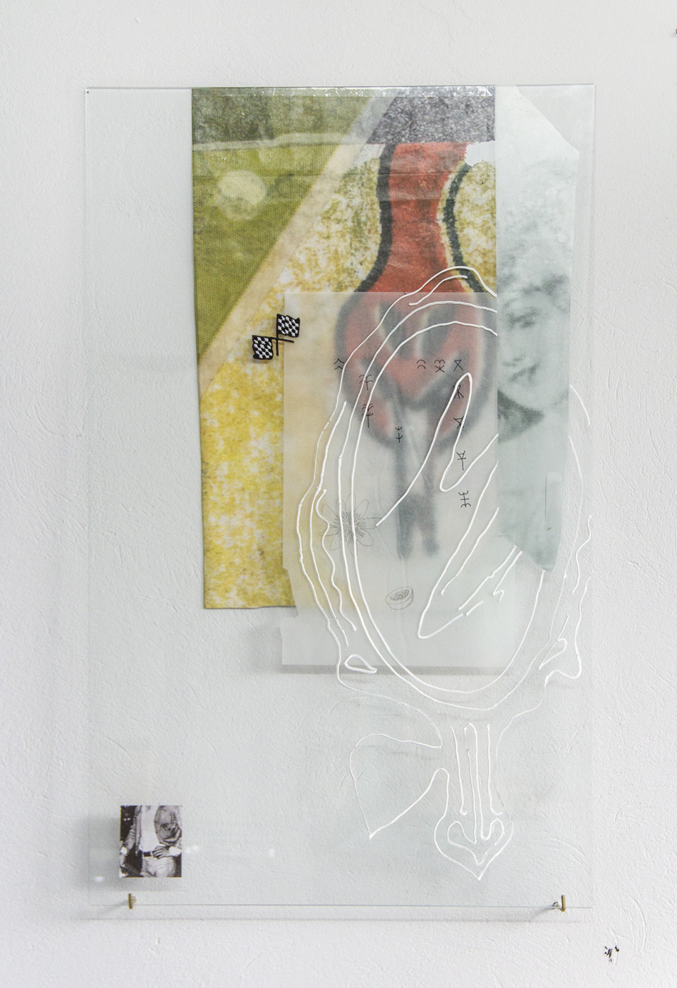 Nana Mandl my very own muse I, 2019 mixed media on glass 80 x 50 cm 31 1/2 x 19 3/4 in