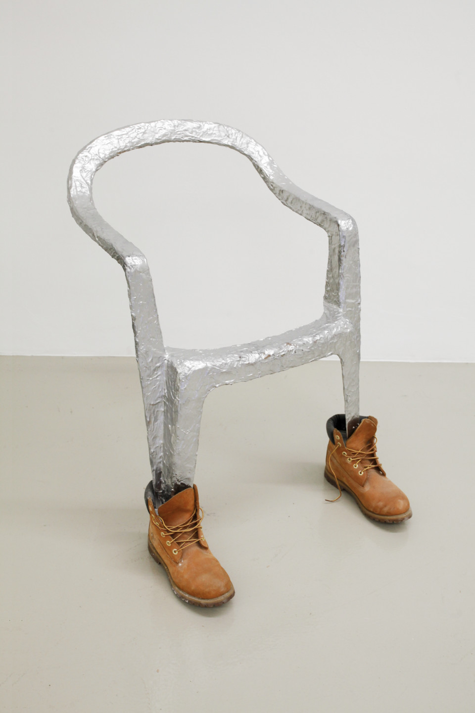Lindsay Lawson  Jan Jansen, 2018  Garden chair, timberlands, latex, acrylic  83 x 86 x 84 cm 32 5/8 x 33 7/8 x 33 1/8 in
