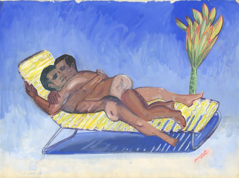 Image: Jimmy Wright  The Embrace: Club Baths, 1975  gouache on paper  22 x 30 inches (55.9 x 76.2 cm)