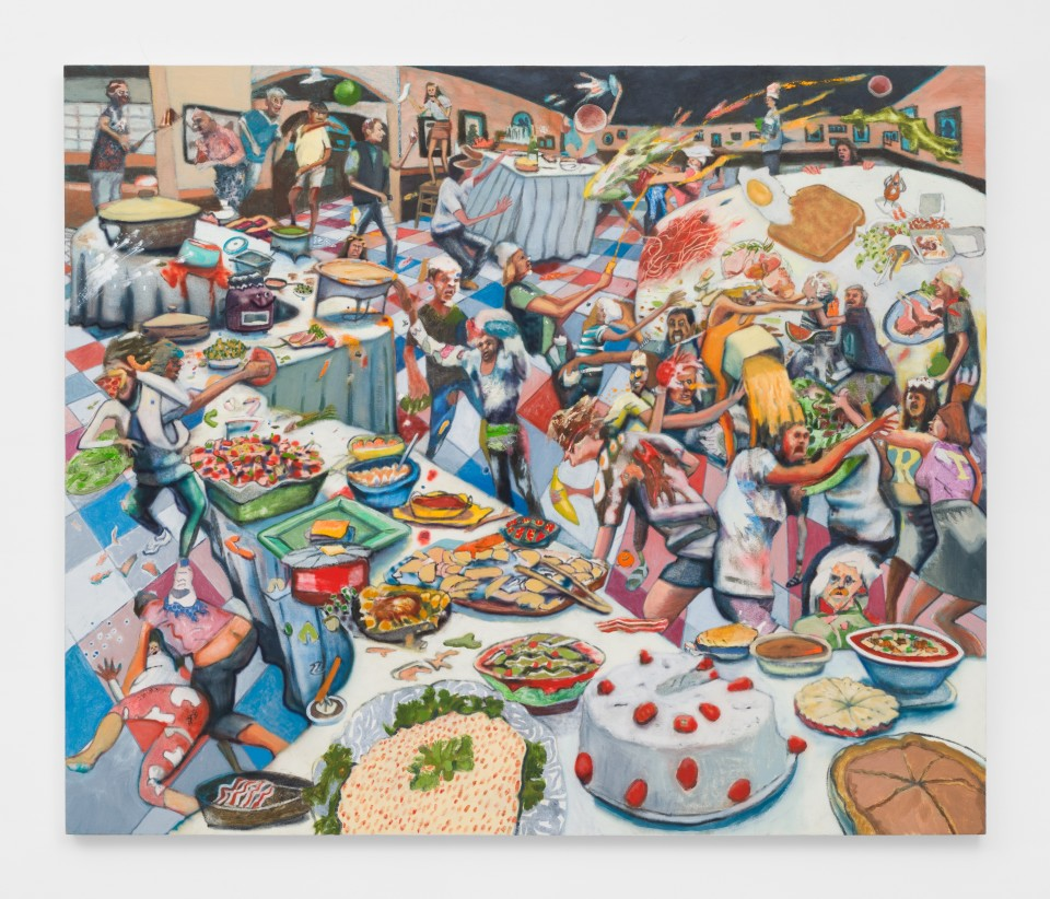 Artwork: Rob Thom  Food Fight Club, 2018  signed and dated  oil and wax on canvas  60 x 72 inches (152.4 x 182.9 cm)