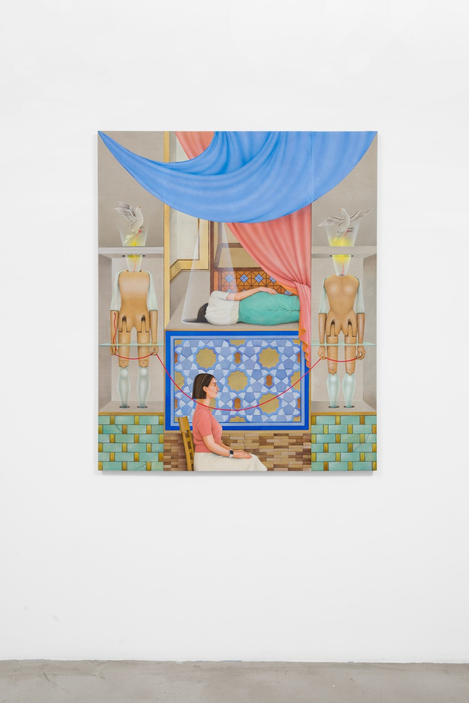 Image: Arghavan Khosravi  Presence of Others, 2019  signed and dated verso  acrylic on canvas and linen mounted on wood panels  55 x 45 inches (139.7 x 114.3 cm)