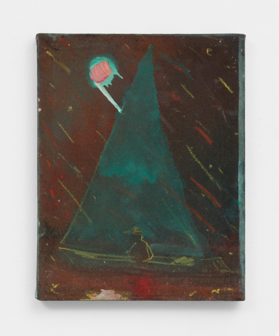 Image: Nathan Zeidman  Sailboat, 2015  signed and dated verso  acrylic and pastel on canvas  14 x 11 inches (35.6 x 27.9 cm)
