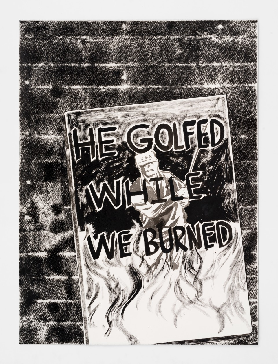 Image: Mark Thomas Gibson  He Golfed While We Burned, 2020  ink on paper collage  30 x 22 inches (76.2 x 55.9 cm)