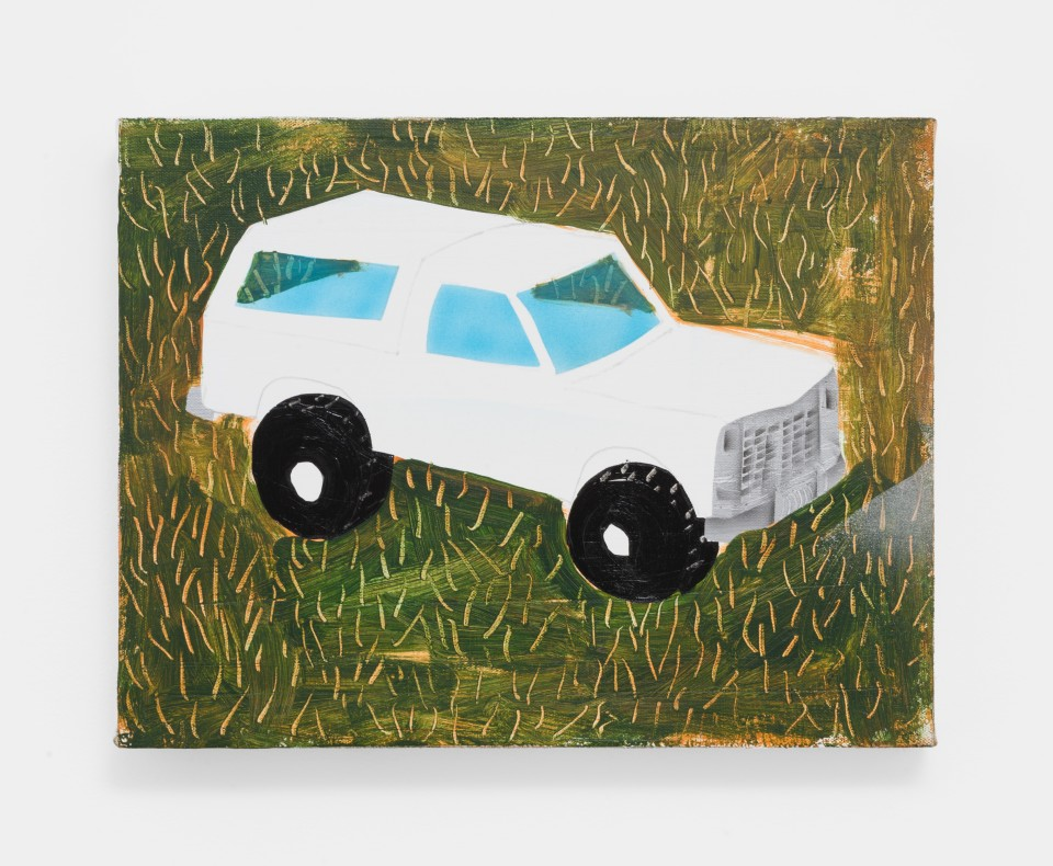 Artwork: Pat Phillips  Untitled ( 1993 Ford Bronco (White) ), 2020  signed, titled and dated verso  acrylic, pencil, airbrush, aerosol paint on canvas  10 1/4 x 13 1/4 inches (26 x 33.7 cm)