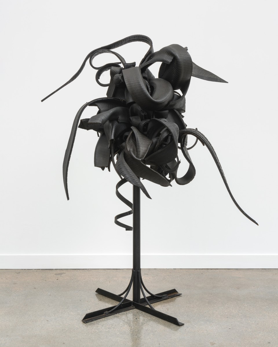 Image: Chakaia Booker  Future, 2019  rubber tires and steel  68 x 51 x 35 inches (172.7 x 129.5 x 88.9 cm)