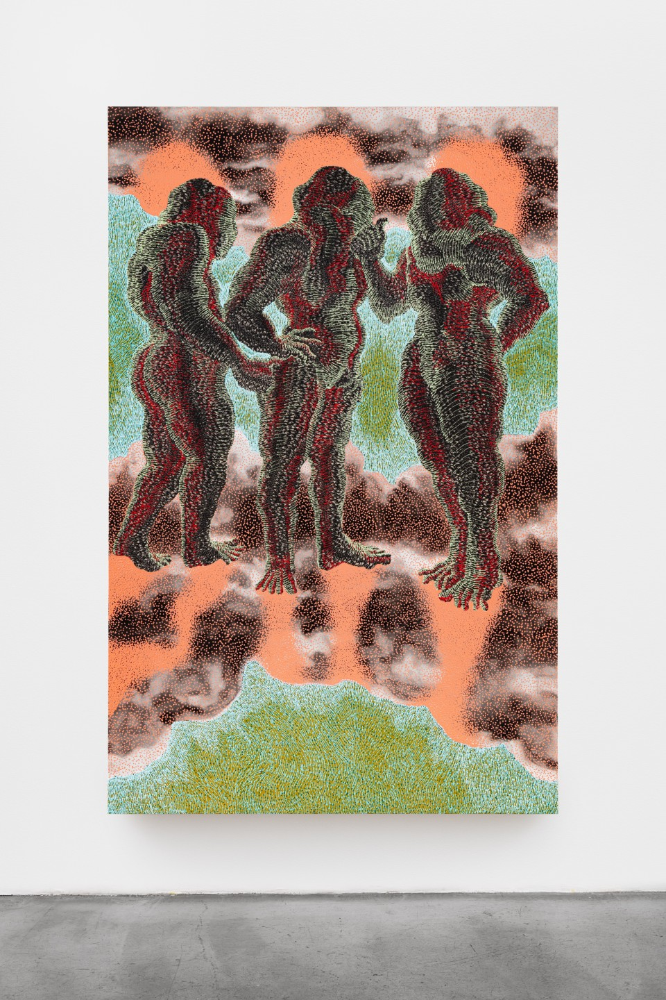 "Artwork: Didier William  Twa Manman, twa kouwon, 2020 (""Three Mothers, three crowns"")  signed and dated verso  acrylic, ink, oil and wood carving on panel  102 x 65 inches (259.1 x 165.1 cm)"