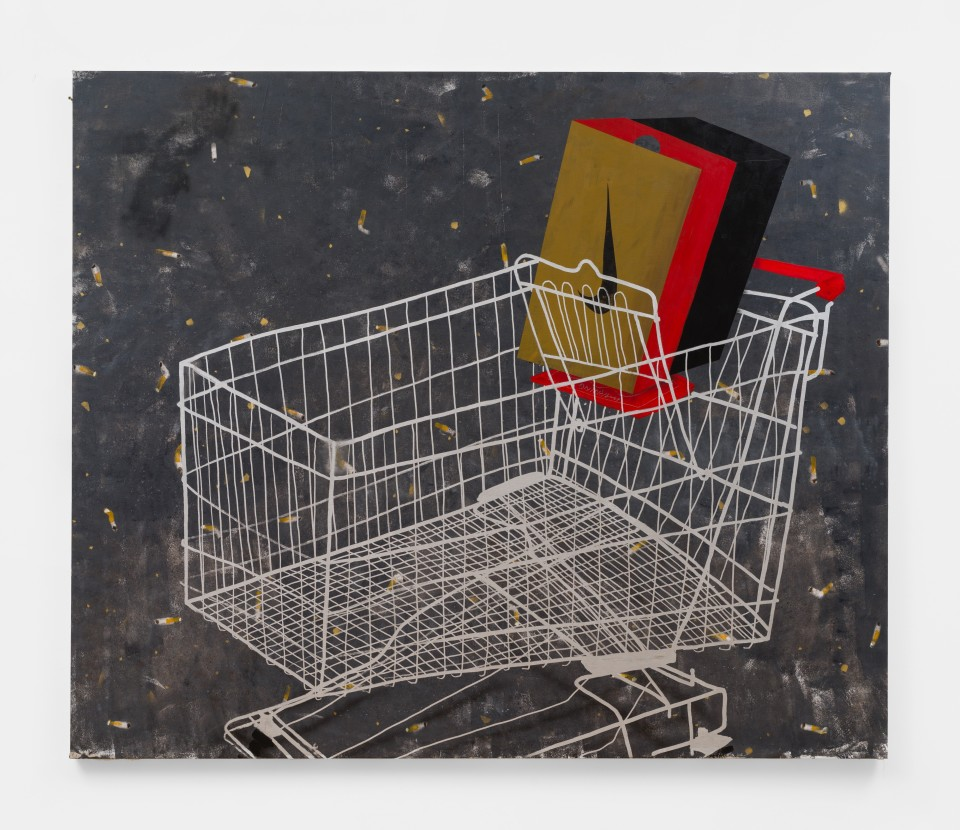 Image: Pat Phillips  Untitled (shopping cart), 2019  signed, titled and dated verso  acrylic, paint marker, airbrush, aerosol paint on canvas  64 1/2 x 77 inches (163.8 x 195.6 cm)