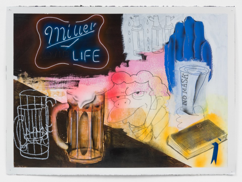 """Image: Pat Phillips  Untitled """"Wearing a mask at the bar in Port Richmond might get you beat up"""" / Moes, 2021  signed and dated verso  acrylic, pencil, permanent oil stick, white out pen, airbrush, aerosol paint on paper  paper size: 22 x 30 inches (55.9 x 76.2 cm) framed size: 24 5/8 x 32 1/2 inches (62.55 x 82.55 cm)"""