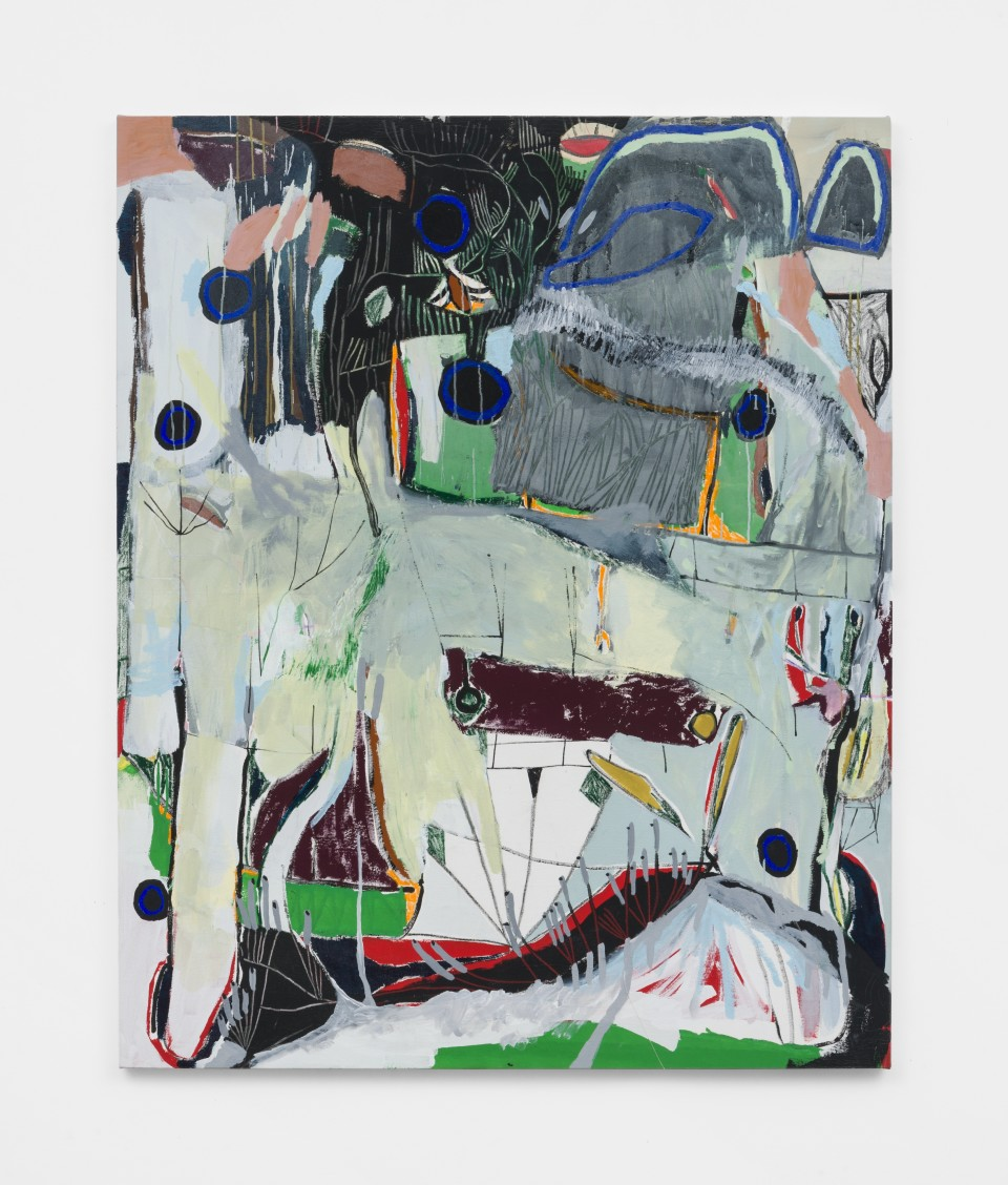 Artwork: Laís Amaral  WET HEAD (UNTITLED), 2021  signed and dated verso  acrylic and oil pastel on canvas  73 x 59 1/2 inches (185.4 x 151.1 cm)