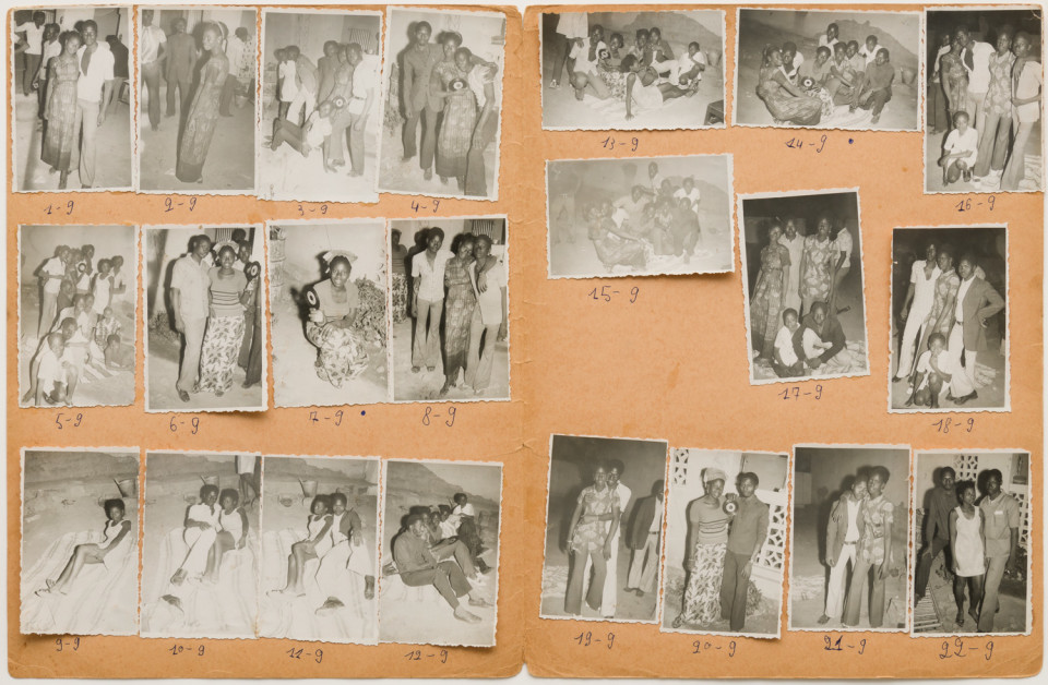 Image: Malick Sidibé  Nuit du 15/1/73, 1973  numerical notations under each print; signed, initialed, titled and dated verso  collection of 22 vintage gelatin silver prints mounted on paper  12-3/4 x 19-1/2 inches