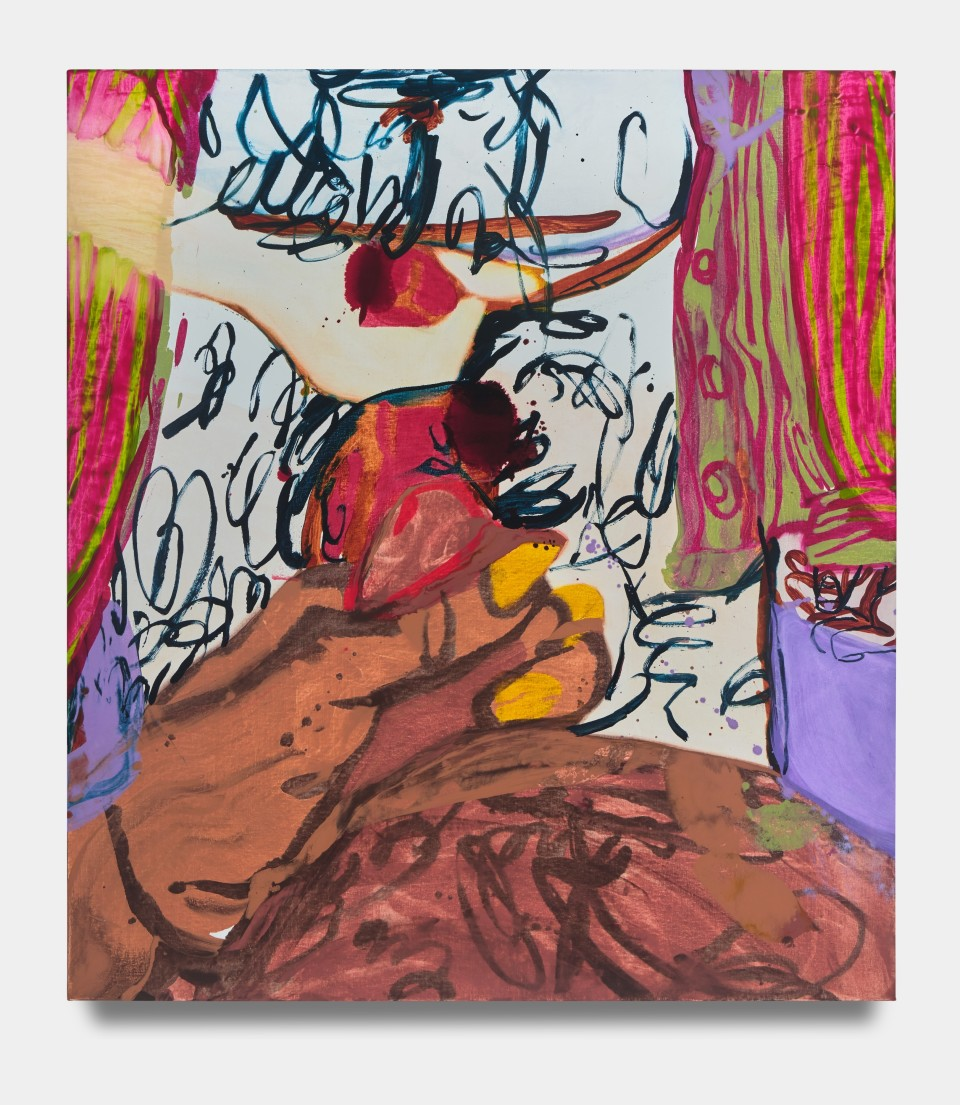 Artwork: Sarah Faux  Am not, are too, 2021  signed and dated verso  oil on canvas  54 x 48 inches (137.2 x 121.9 cm)